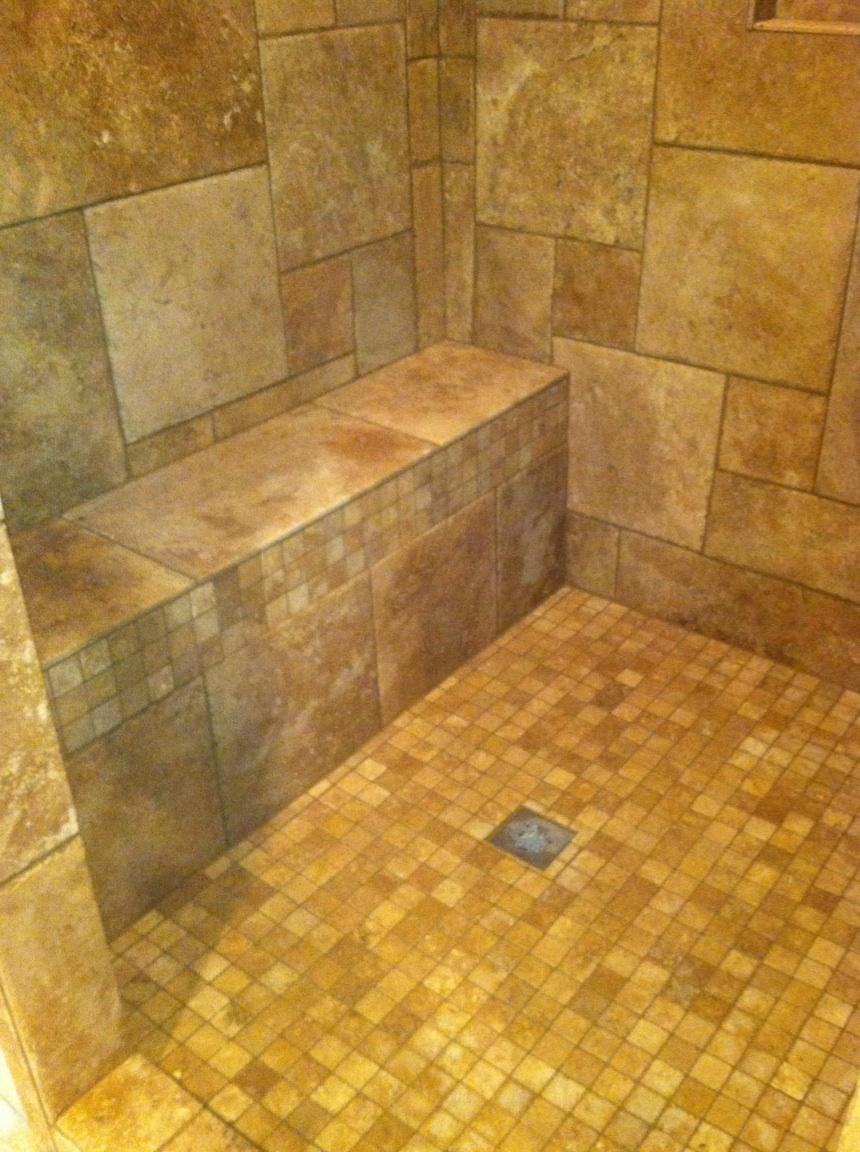 Custom Travertine Tiled Shower Roswell Ga AFTER