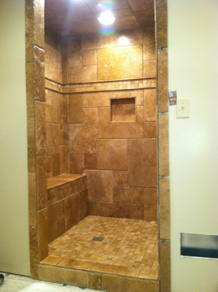 Travertine Stone Tile Shower Installation Metro Atl
