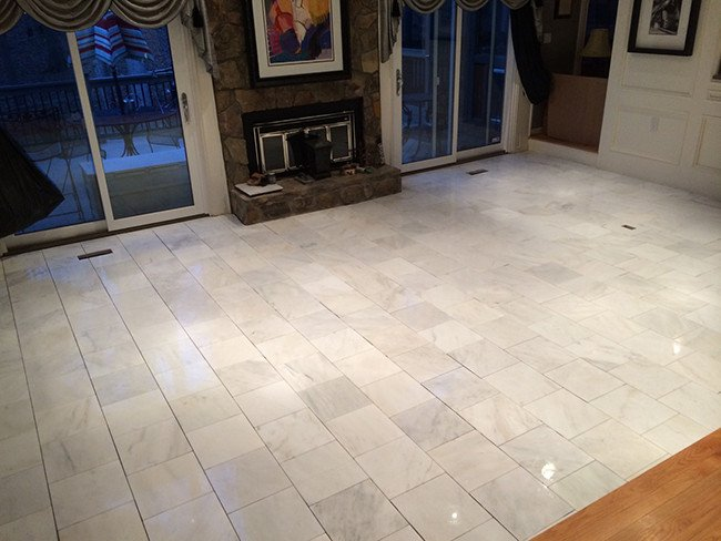 Wood Floors Replaced with Marble Tile – Roswell GA